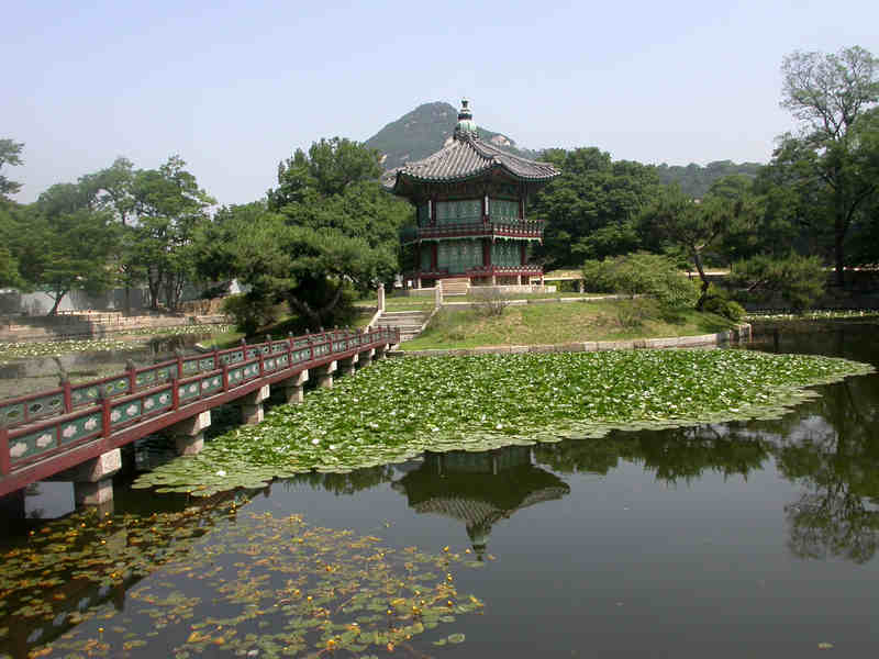 Gyeongbokgung Palace On Lily Pond Seoul Korean
